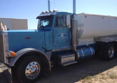 Hauling blue truck